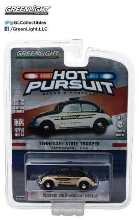 GreenLight - Volkswagen  - gl42790F : Volkswagen Beetle Tennessee State Trooper *Hot Pursuit series 22*, creme/black