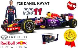 Bburago - Red Bull Racing   - bura41227K : 2015 Red Bull Infiniti RB 11 F1 #26 Daniil Kvyat, blue/red/yellow
