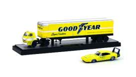 "M2 Machines - Dodge  - m2-36000-19BC : 1969 Dodge L600 + 1969 Dodge Charger Daytona 440 ""GOOD YEAR""  *Auto Haulers series 19B*, yellow"
