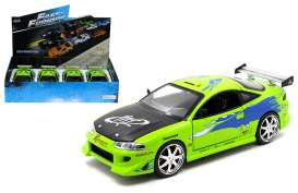 Jada Toys - Mitsubishi  - jada98205~4 : 1/24 Brians Mitsubishi Eclipse *Fast and the Furious* in a tray with 4pcs.