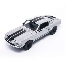 Lucky Diecast - Shelby  - ldc92168s : 1968 Shelby Mustang GT-500KR, silver chrome