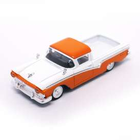Lucky Diecast - Ford  - ldc94215o : 1957 Ford Ranchero *Road Signature*, orange/white