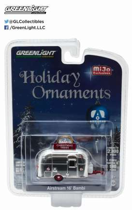GreenLight - Airstream  - gl51078 : 1/64 Airstream 16 Bambi Sport Trailer Xmas Ornament with real chrome