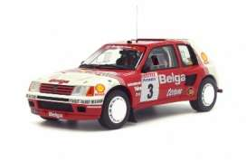 OttOmobile Miniatures - Peugeot  - otto647 : 1985 Peugeot 205 T16 Groupe B *Resin series*, red/white