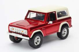 Jada Toys - Ford  - jada97824r : 1973 Ford Bronco, red with white roof.