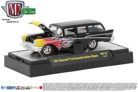 M2 Machines - Chevrolet  - M2-32500WC12A : 1957 Chevrolet 210 Beauville Station Wagon *Wild Card Series WC12*, black/flames