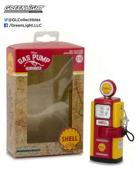 GreenLight - Accessoires diorama - gl14010B : 1/18 1948 Wayne 100-A Shell Oil Gas Pump *Vintage Gas Pumps Series 1* yellow/red