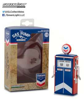 GreenLight - Accessoires  - gl14010C : 1/64 Standard Oil Gas Pump *Vintage Gas Pumps Series 1* blue/red