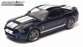 GreenLight - Shelby  - gl12824*1 : 2010 Shelby Mustang GT500, kona blue with performance white stripes.