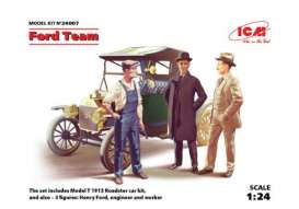 ICM - Ford  - icm24007 : 1913 Model T Roadster + 3 Figures Henry Ford & Co, plastic modelkit