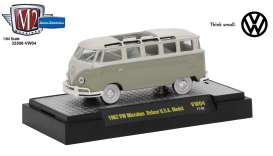 M2 Machines - Volkswagen  - M2-32500VW4E : 1959 Volkswagen Microbus Deluxe U.S.A. Model, mouse grey/pearl white