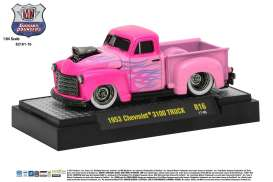 M2 Machines - Chevrolet  - M2-82161-16A : 1953 Chevrolet 3100 Truck Ground Pounders Release 16, pink with flames
