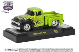 M2 Machines - Ford  - M2-82161-16B : 1956 Ford F-100 Truck *Ground Pounders Release 16*, green with flames