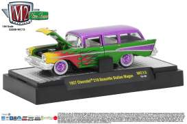 M2 Machines - Chevrolet  - M2-32500WC13A : 1957 Chevrolet 210 Beauville Station Wagon *Wild Card Series WC13*, green/purple
