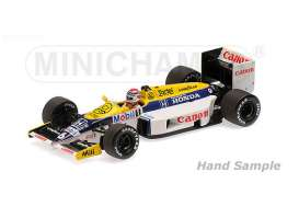 Minichamps - Williams Honda - mc117860006 : 1986 Williams Honda FW11 *Nelson Piquet* *Resin Series*, white/blue/yellow