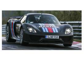 Minichamps - Porsche  - mc410062137 : 2015 Porsche 918 Spyder Weissach Package with Martini Stripes, black/red/blue