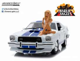 GreenLight - Ford  - gl12880B*5 : 1976 Ford Mustang Cobra II *Charlies Angels*, white with blue stripes. Including Farrah Fawcett Figure in her Iconic pose on the hood of this car.