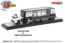 M2 Machines - Ford  - m2-36000-22B : 1970 Ford C-950 and 1965 Ford Econoline Van Auto Haulers series 22, white/black/red