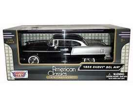 Chevrolet  - Bel Air 1955 black - 1:24 - Motor Max - 73229 - mmax73229bk | Tom's Modelauto's