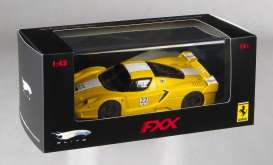 Ferrari  - 2006 yellow w/white stripe - 1:43 - Hotwheels Elite - mvN5612 - hwmvN5612 | Toms Modelautos