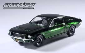 Ford  - Mustang GT *Bullit* 1968 Highland Green Chrome  - 1:18 - GreenLight - 12823 - gl12823 | Tom's Modelauto's