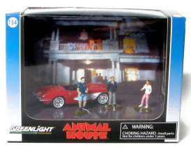 GreenLight - Chevrolet Corvette - gl56040A : *Diorama series 4* Animal House 1959 Chevrolet Corvette with 3 figures, red/white. Limited edition all Dioramas are made one time only.