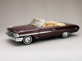 Ford  - Galaxie 500XL Open convertible 1964 vintage burgundy - 1:18 - SunStar - 1432 - sun1432 | Toms Modelautos