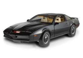 Hotwheels Elite - Pontiac  - hwmvx5469 : K.I.T.T., the original smart car, also known as the Knight Industries Two Thousand, is a black, customized 1982 Pontiac Trans-Am; driven by former police officer turned private eye, Michael Knight (as played by David Hasselhoff), in the popular 80s action-adventure television series, *Knight Rider*. Sponsored by the multimillion dollar company, Knight Industries, Michael traveled the country helping the helpless and fighting for justice with K.I.T.T., his indestructible super-car sidekick.