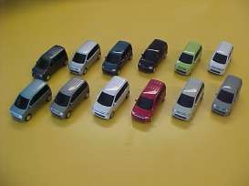 Vitesse SunStar - Mitsubishi  - vssMIT-EK~12 : Mitsubishi EK wagon, set of 12 cars in different colours, white, red, grey metallic, silver, black, light blue metallic, beige, pearl white, dark blue metallic, smoke silver metallic, anthracite metallic and lime green. With pull back action