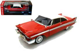 Plymouth  - Fury *Christine* 1958 red/white - 1:18 - Auto World - SS102 - AWSS102 | Tom's Modelauto's