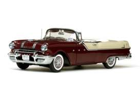 Pontiac  - Star Chief Open Convertible 1955 white mis/persian maroon - 1:18 - SunStar - 5056 - sun5056 | Tom's Modelauto's