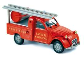 Norev - Citroen  - nor156076 : 1963 Citroen 2CV Pick-Up with Ladder *Pompiers*, red