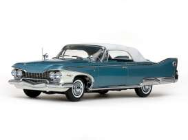 Plymouth  - Fury closed convertible 1960 white/twilight blue metallic - 1:18 - SunStar - 5412 - sun5412 | Tom's Modelauto's