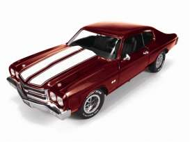 Chevrolet  - 1970 red-burgundy/white stripes - 1:43 - Auto World - R1134 - AWR1134 | Tom's Modelauto's