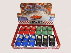Kinsmart - Chevrolet  - KT5330DM~12 : 1955 Chevrolet Stepside 3100 Towtruck in a tray with 12pcs. 3 each of the following colours; matt red, matt blue, matt green & matt black. With Pull Back Action.