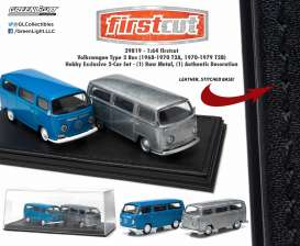 GreenLight - Volkswagen  - gl29819 : 1970 Volkswagen T2 Bus *Firstcut Series* 2-pack. One Firstcut car and one decorated car.