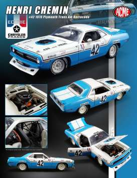 Plymouth  - Trans Am Barracuda #42 1970 blue/white - 1:18 - Acme Diecast - 1806102 - acme1806102 | Toms Modelautos