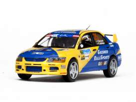 Vitesse SunStar - Mitsubishi  - vss43255 : 2013 Mitsubishi Lancer Evolution IX #25 International Jänner Rallye Blomqvist/Jakobsson, yellow/blue