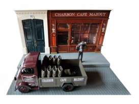 Magazine Models - Peugeot  - MagDIOcharbon : Peugeot DMA Charbon with Cafe diorama, burgundy