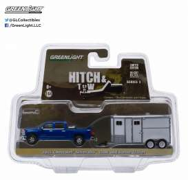 GreenLight - Chevrolet  - gl32050B : 2015 Chevrolet Silverado and Unmarked Horse Trailer, Hitch and tow Series 5.