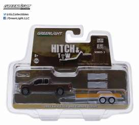 GreenLight - Ford  - gl32050D : 2015 Ford F-150 and Flatbed Trailer, Hitch and tow Series 5.