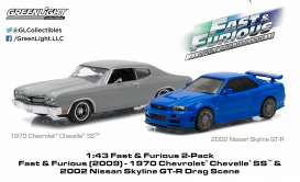GreenLight - Nissan Chevrolet - gl86252 : 1970 Chevrolet Chevelle SS & 2002 Nissan Skyline GT-R (Fast & The Furious 2009) double set