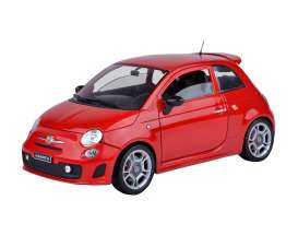 Fiat  - 500 Abarth red - 1:18 - Motor Max - 79168r - mmax79168r | Tom's Modelauto's