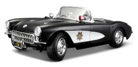Chevrolet Corvette - 1957 black/white - 1:18 - Maisto - mai31380 | Tom's Modelauto's