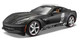 Chevrolet  - Corvette Stingray *Police* 2014 black/white - 1:18 - Maisto - 36212 - mai36212 | Tom's Modelauto's
