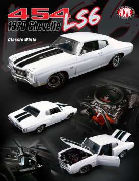 Acme Diecast - Chevrolet  - acme1805508 : 1970 Chevelle 454 LS6, classic white with black stripes.