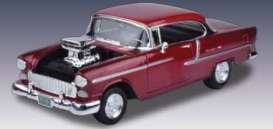 Chevrolet  - 1955 metallic red - 1:18 - Motor Max - 79002r - mmax79002r | Tom's Modelauto's