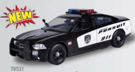 Motor Max - Dodge  - mmax79531 : 2011 Dodge Charger *Police Pursuit* with Realistic Light and Sound, black/white