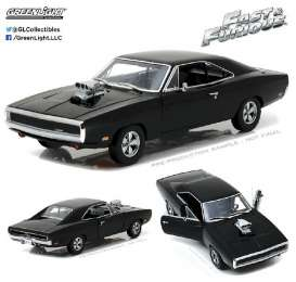 GreenLight - Dodge  - gl19027 : 1970 Doms Dodge Charger *the Fast & the Furious 2001* with Blown Engine, black.