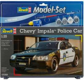 Revell - Germany - Chevrolet  - revell67068 : Model set 2012 Chevrolet Impala Police Car, plastic modelkit with glue, paint and pencil